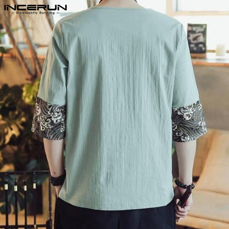 d9feca840 INCERUN Chinese Style L 5XL Summer Men T Shirts Half Sleeve Cotton  Patchwork Retro Print Loose Tee Tops Crew Neck Plus Size Male Trendy T  Shirts For Men ...