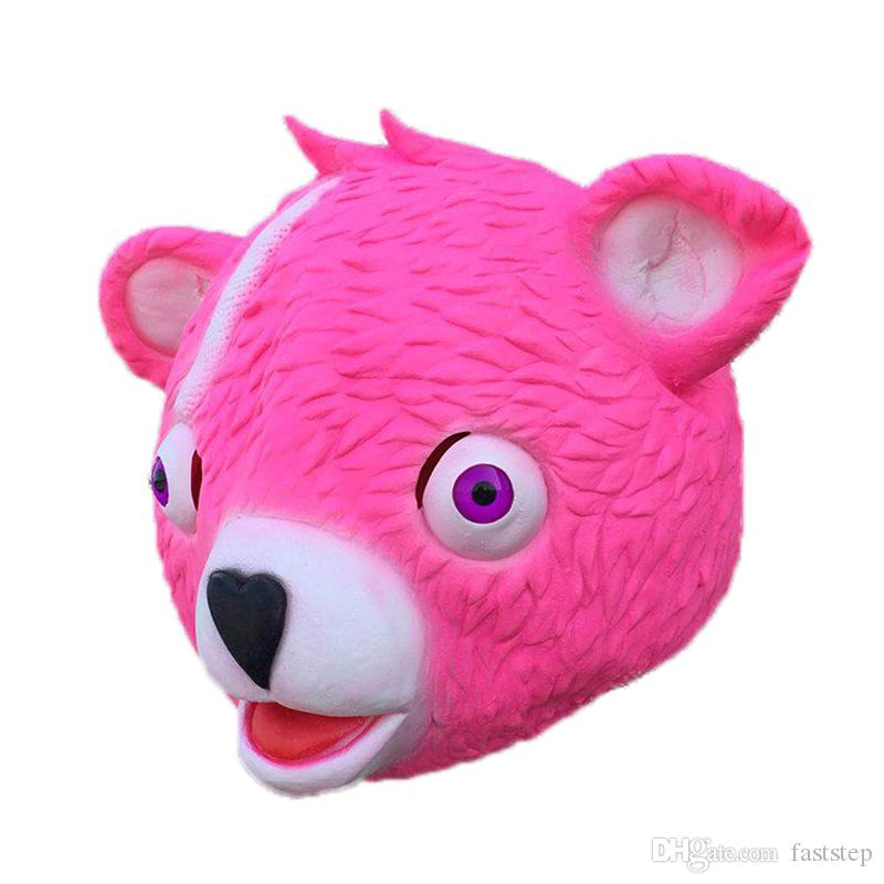 New Fortnite Mask Cuddle Team Leader Pink Teddy Bear Fuzzy Panda