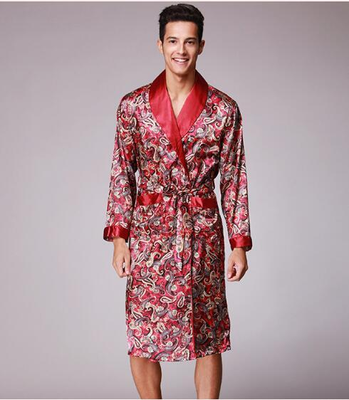 2018 Spring Summer Autumn New Luxury Print Silk Robe Male Bathrobe ...