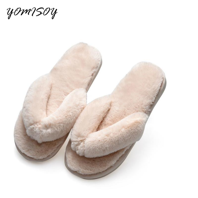 b8fc9b44c YOMISOY Mode Automne Hiver Femmes Chaud Maison Pantoufles Flip Flops Fausse  Fourrure En Peluche Chaussures Femme Slip On Flats Femme Pantoufle