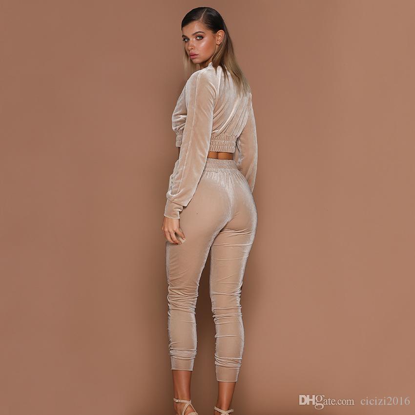 Kadın Spor Takım Elbise Kadife Uzun Kollu Kazak + Pantolon Iki parçalı Set Kadın Koşu Spor Takım Elbise Bayanlar için Eğlence Eşofman Artı Boyutu