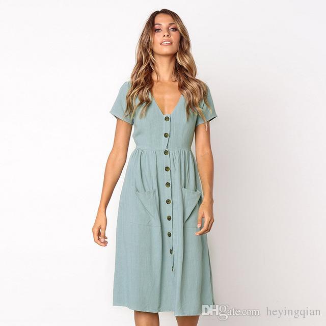 06d37fc8f243b Satın Al Kadın Moda Yaz Şık Elbiseler Kısa Kollu V Boyun Düğmesi Dekoratif  Midi Elbise Cepli Elbise, $14.07   DHgate.Com'da