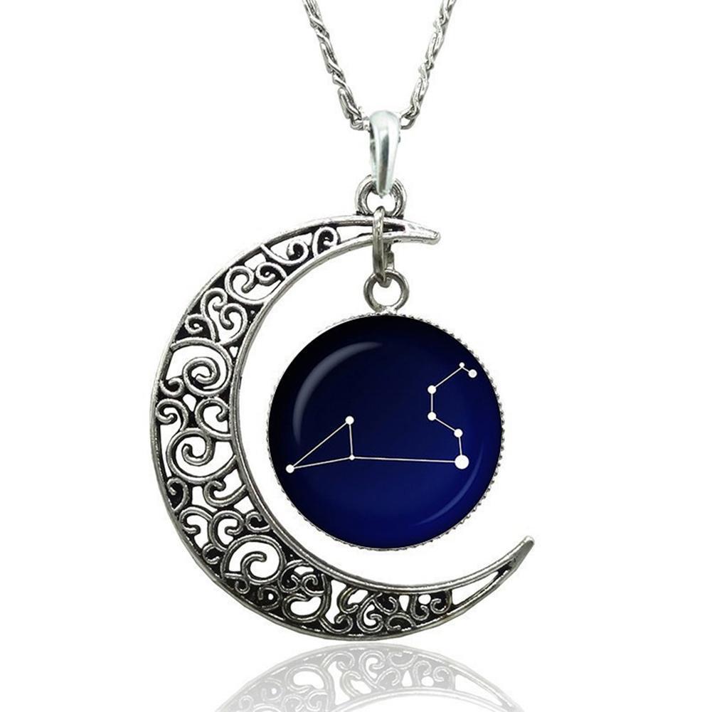 découvrir les dernières tendances meilleur service classique Hot femmes mode astrologie signes astrologiques creuse lune verre cabochon  pendentif collier cadeau