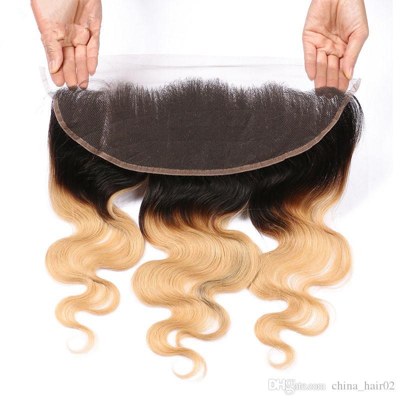 Body Wave # 1B / 27 حزم العسل شقراء أومبير العذراء البرازيلي الإنسان الشعر حزم مع 13x4 يشبع أمامي إغلاق أومبير الشعر البشري ينسج