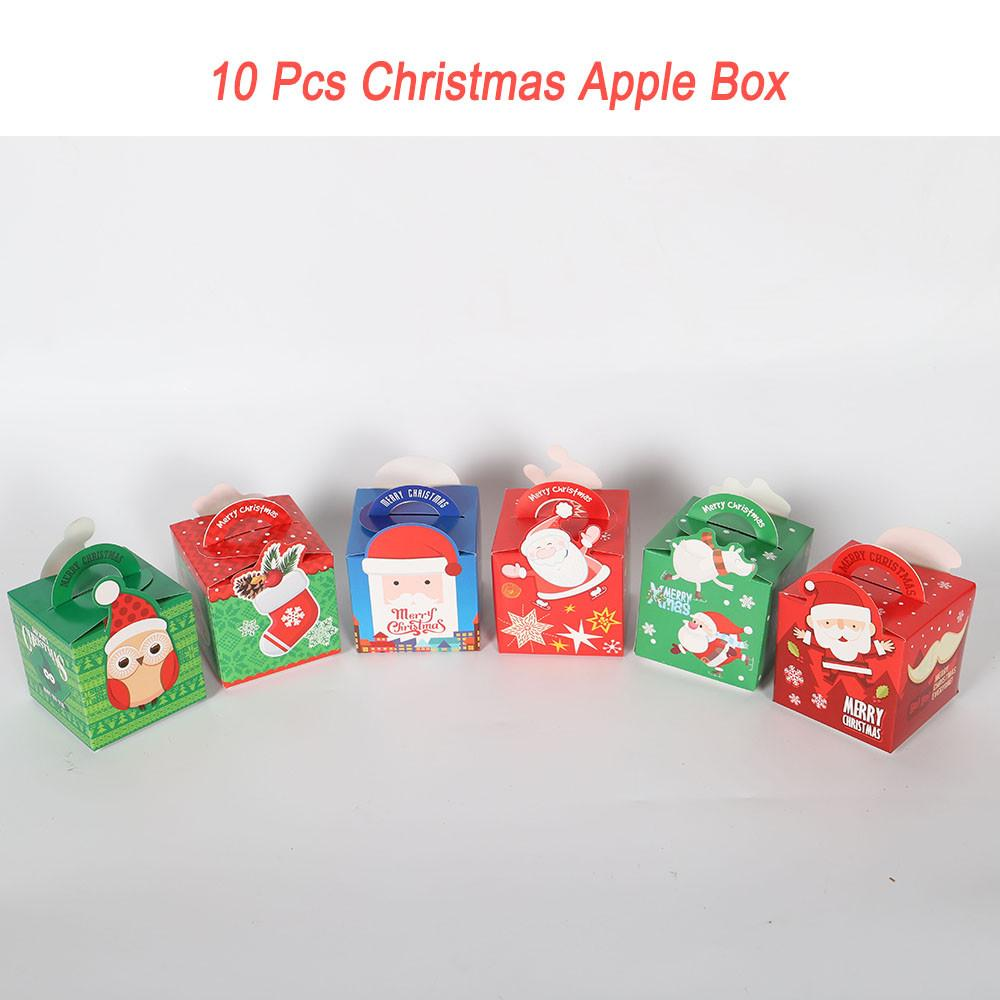 Colorful Folded Christmas Gift Paper Boxes Xmas Apple Candy Party ...