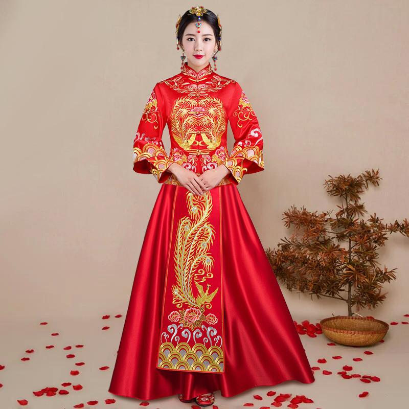 c51538480 2019 Bride Cheongsam Vintage Chinese Style Wedding Dress Retro Toast  Clothing Lady Embroidery Phoenix Gown Marriage Qipao Red Clothes From  Vikey10, ...
