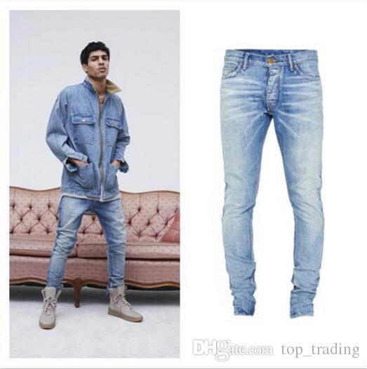 9f07a169fe8 2019 Mens Jeans Ripped Jeans KANYE WEST Justin Bieber Fashion Designer Blue  Rock Star Hip Hop Punk Denim Male Pants From Top trading