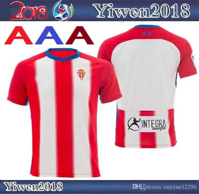 2018 2019 Sporting Gijon Soccer Jersey Home Red White 18 19 Carmona ... 6fab15c17