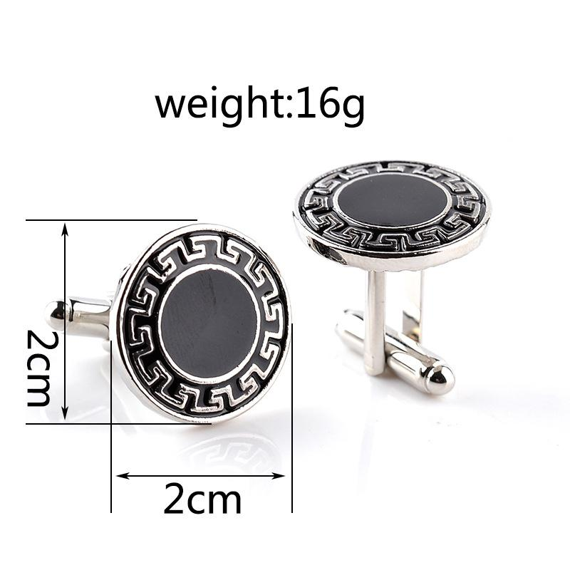 High Quality Vintage Square Round Men Business Simple Cufflinks Black&white series Fashion Personality French Cuff links