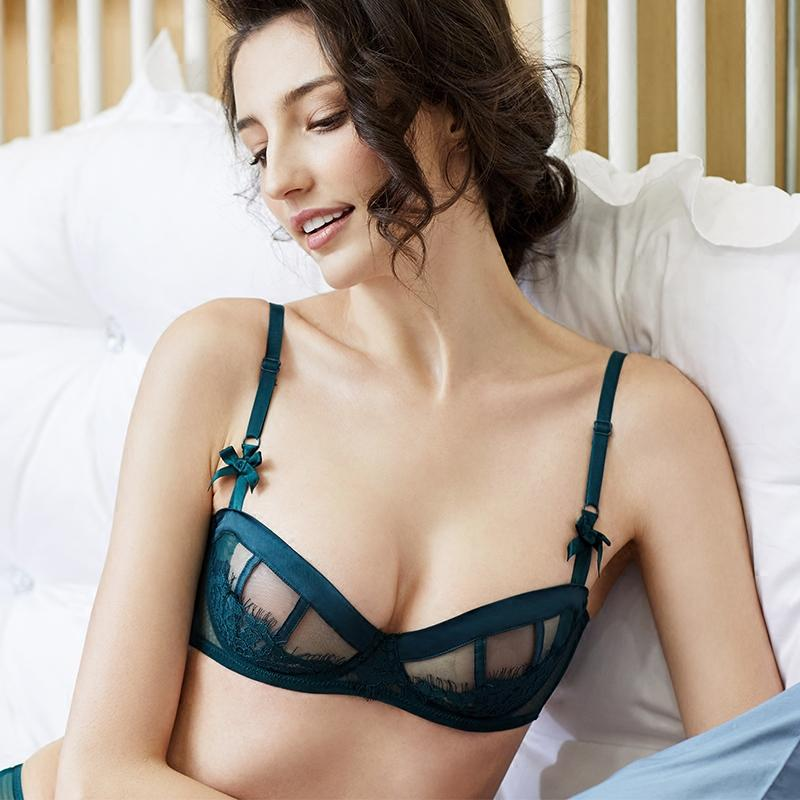 f8979c7aa0 2019 Sexy Ultra Thin Lace Bra Without Sponge Transparent Half Cup Underwear Comfortable  Bra Woman From Blairi