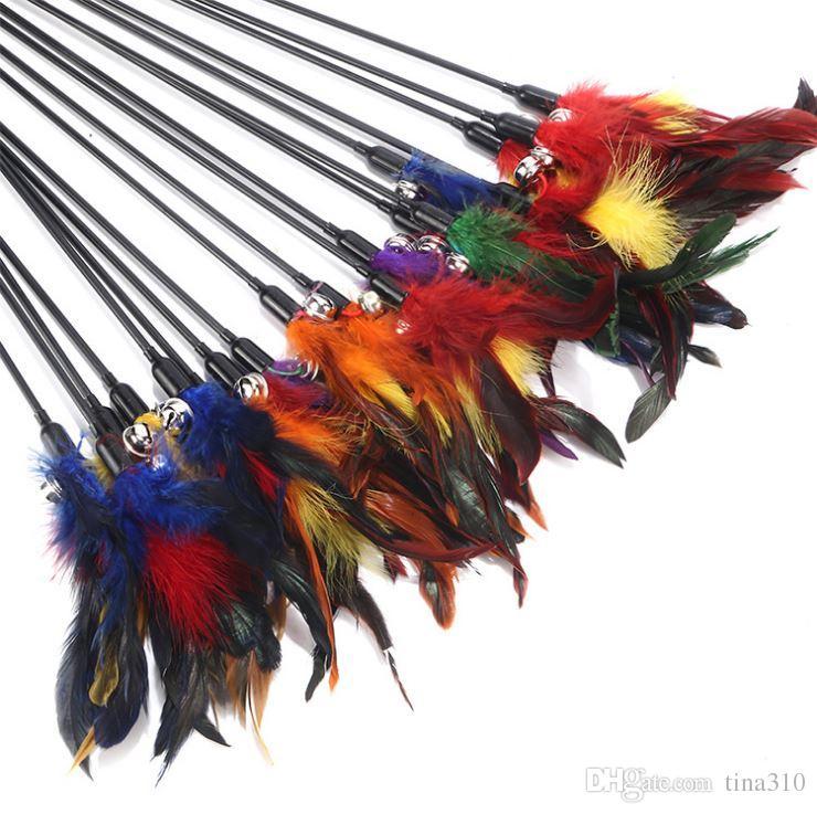 Cloche plumes pet taquiner chat et bâton couleur interactive taquineries chat jouets poissons divinité à amuser le chat pôle T4H0239