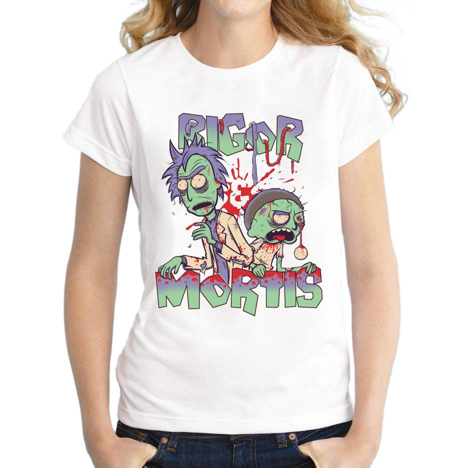 Women's Tee Creative Rigor And Mortis Design 2018 Women Short Sleeve T-shirt Rick & Morty Zombie Printed Lady Tops Novelty Fashion T Shirts