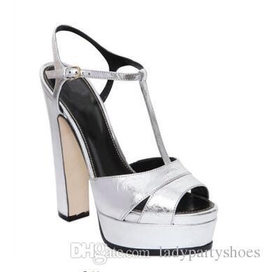 2018 Prata-Espelhado-Couro De Salto Alto Mulheres Sandálias de Verão Bloco de Salto Mulheres Plataforma Sapatos Peep Toe T-Strap Mulheres Bombas