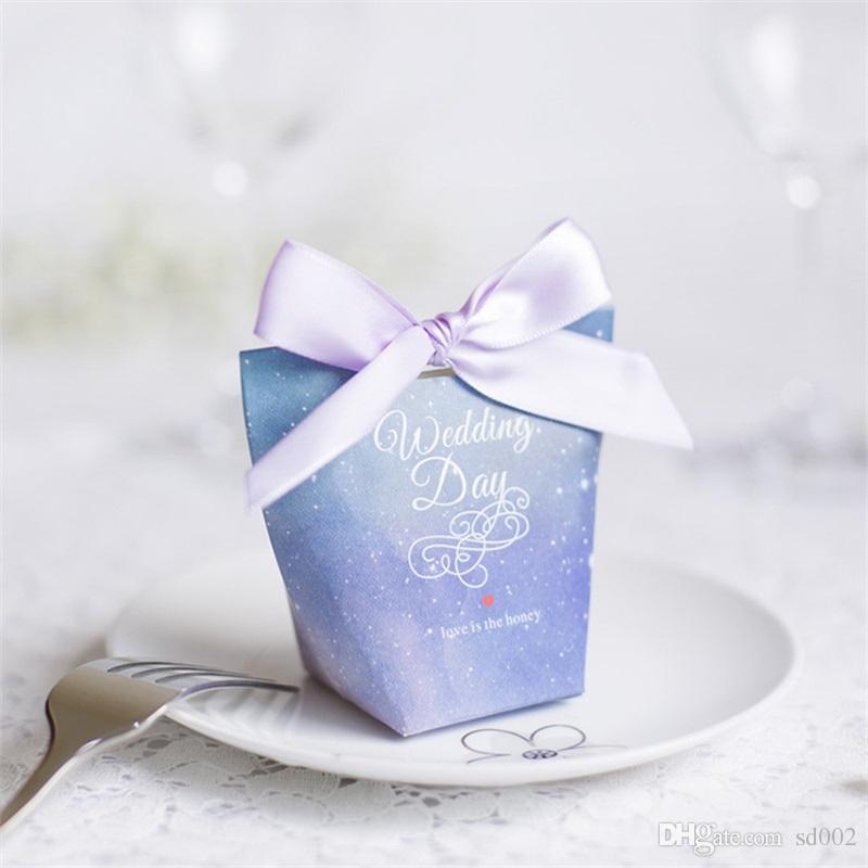 Sternenhimmel Pralinenschachtel Hochzeit Souvenir Dreieck Papier Verpackung Geschenk Wrap Tasche Mini Kreative Trapez Heißer Verkauf 0 5 mh