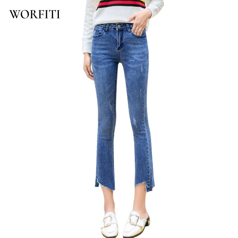 ed6b0e2acc1 2019 Autumn Flare Jeans Ankle Length Pants Stretch Skinny Jeans Women Wide  Leg Slim Denim Boot Cuts Trousers From Yuedanya