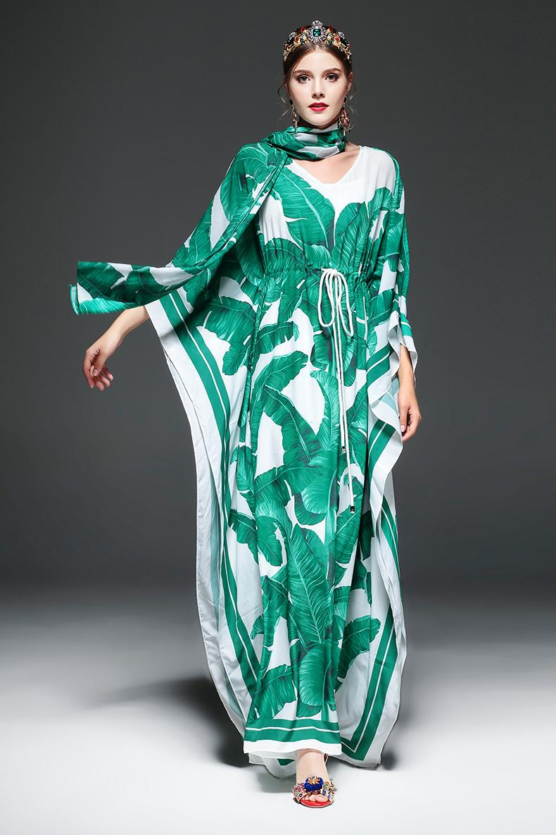 ccf10736920 Maxi Dress Women s Batwing Sleeve Green Palm Leaf Floral Print Loose Casual Long  Dress
