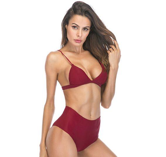 Brazilian Bikini High Waist Sexy Bikinis Women Push Up Tri Cup Swimwear Beach Wear Solid Bathing Suit Swimming