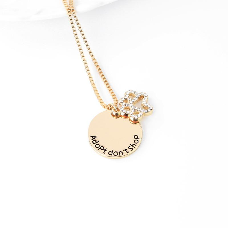 Cute Dog Paw Necklace Adopt don't shop Rhinestone Gold Silver Alloy Pendant Necklaces Jewelry For Gift