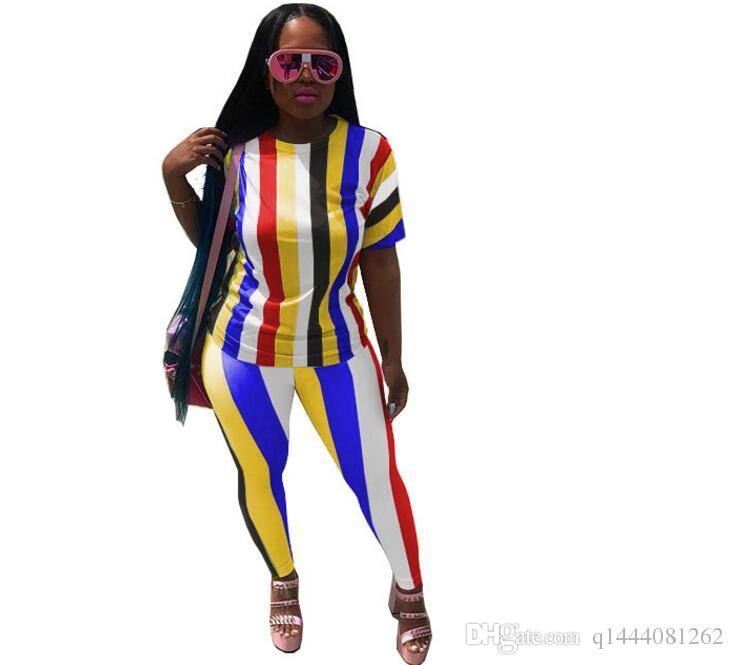 Colorful Striped Two Piece Set Summer 2018 Sexy Tracksuit Short Sleeve Top And Pants Women African Clothing