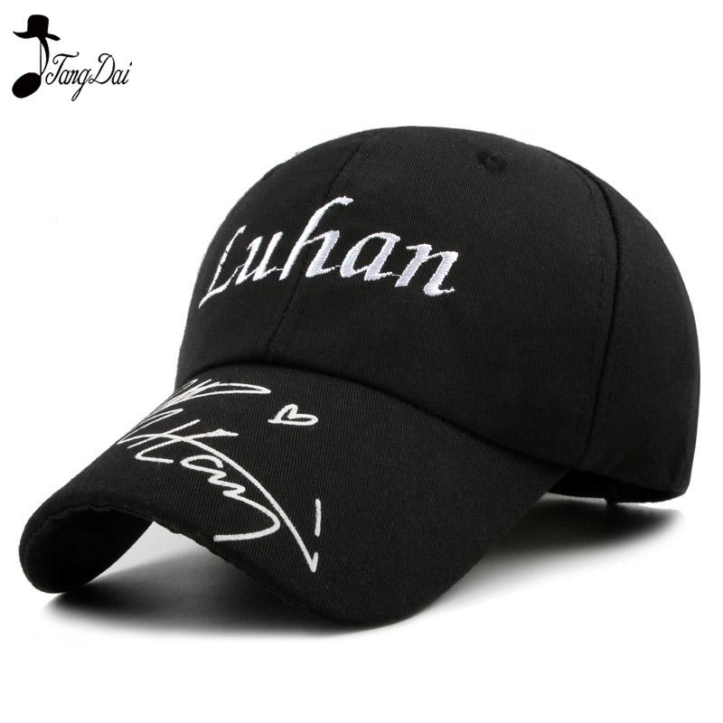d37347ee779 Idol EXO Luhan Letter Hat With Signature Snapback Baseball Cap Youth Sport  Cool Hip Hop Cap Running Man Women Embroidered Basecaps Hats For Sale From  Poety