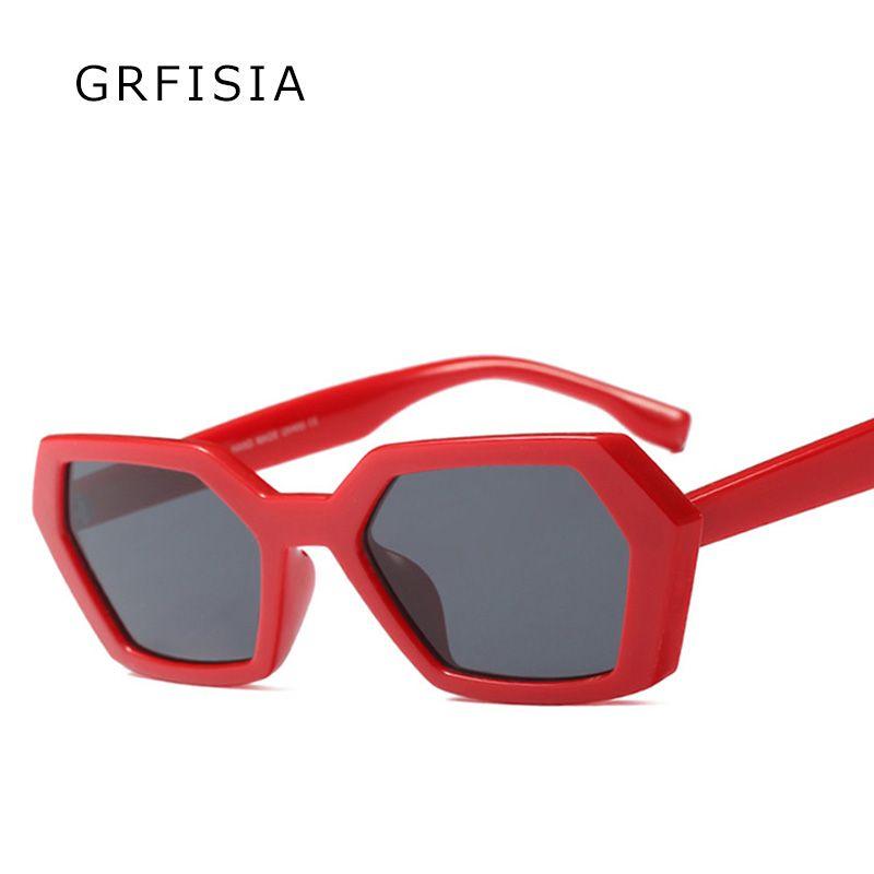 9cd2027e43 GRFISIA Vintage Square Sunglasses Men Women Brand Designer Black Red ...