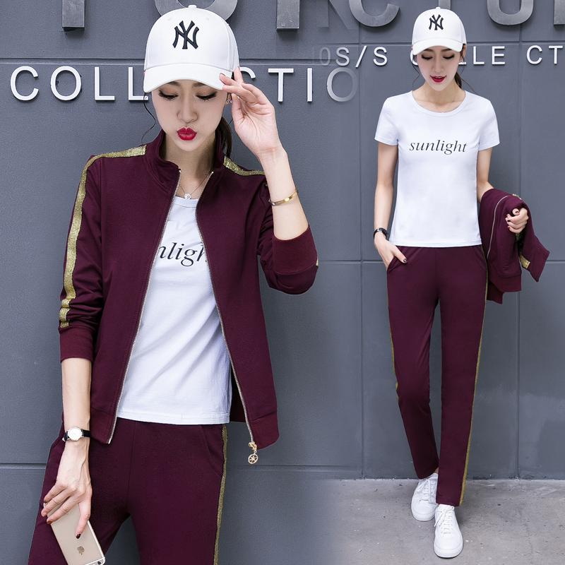 6c40c7912a7 DHfinery Set Female Spring And Autumn Fashion Korean Long-sleeved Large Size  Thin Sweater Casual Wear Three-piece Suit Bs5781 Women s Sets Cheap Women s  ...