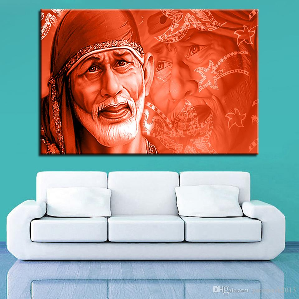 Canvas Painting For Living Room Wall Art Framework Sai Baba Pictures HD Prints India Lord God Abstract Poster Home Decor
