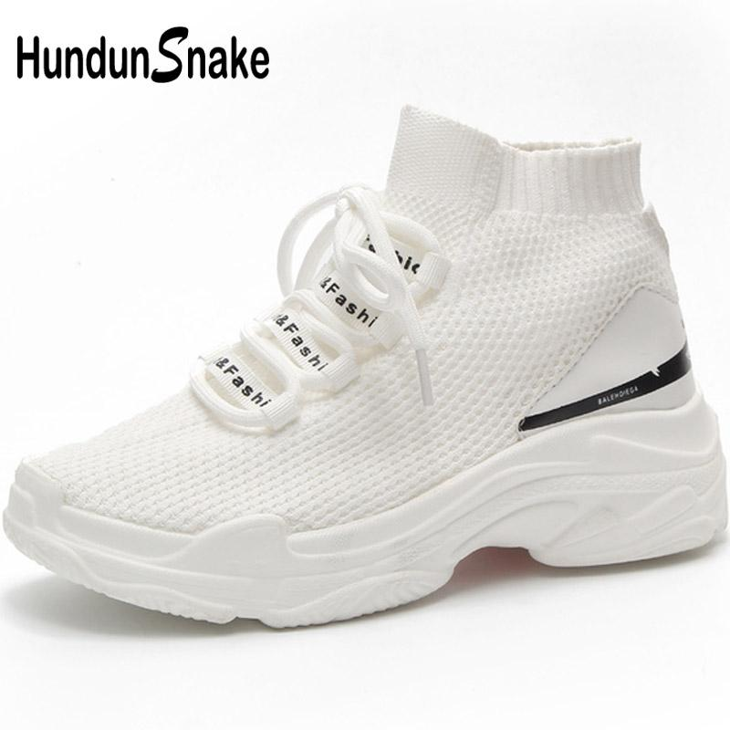 innovative design 9eedf f1b3a Hundunsnake High Top Running Socks Sneakers Women Platform Running Shoes  Women s White Knit Women s Sport Shoes Sports Walk T673