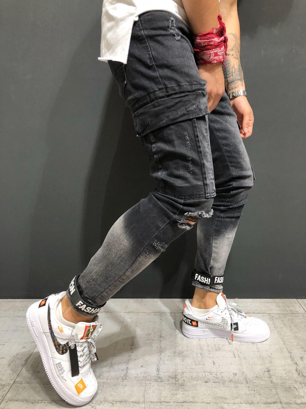99280e8524 Compre Pantalones Vaqueros De Moda Ropa De Hombre Bolsillos Grandes  Rasgados Pantalones Ajustados Pantalones Largos Pantalones Largos A  47.77  Del ...