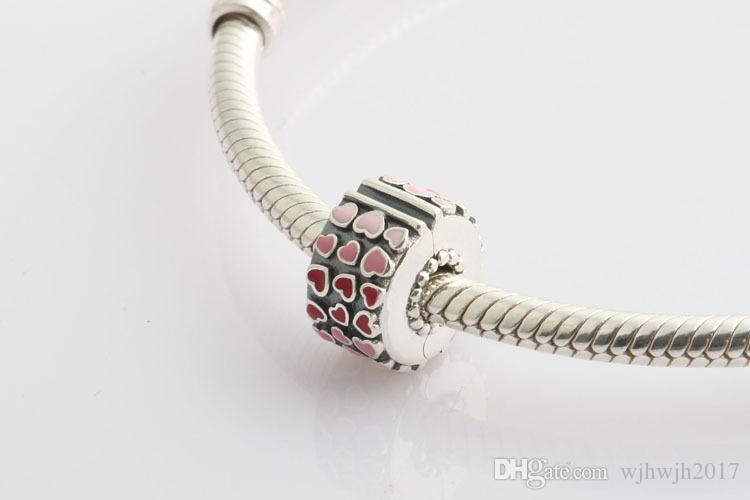 New Authentic 925 Sterling Silver Mixed Enamel Burst Of Love Fixed Clip Stopper Beads Charm Fit European Charm Bracelet Bangle DIY Jewelry