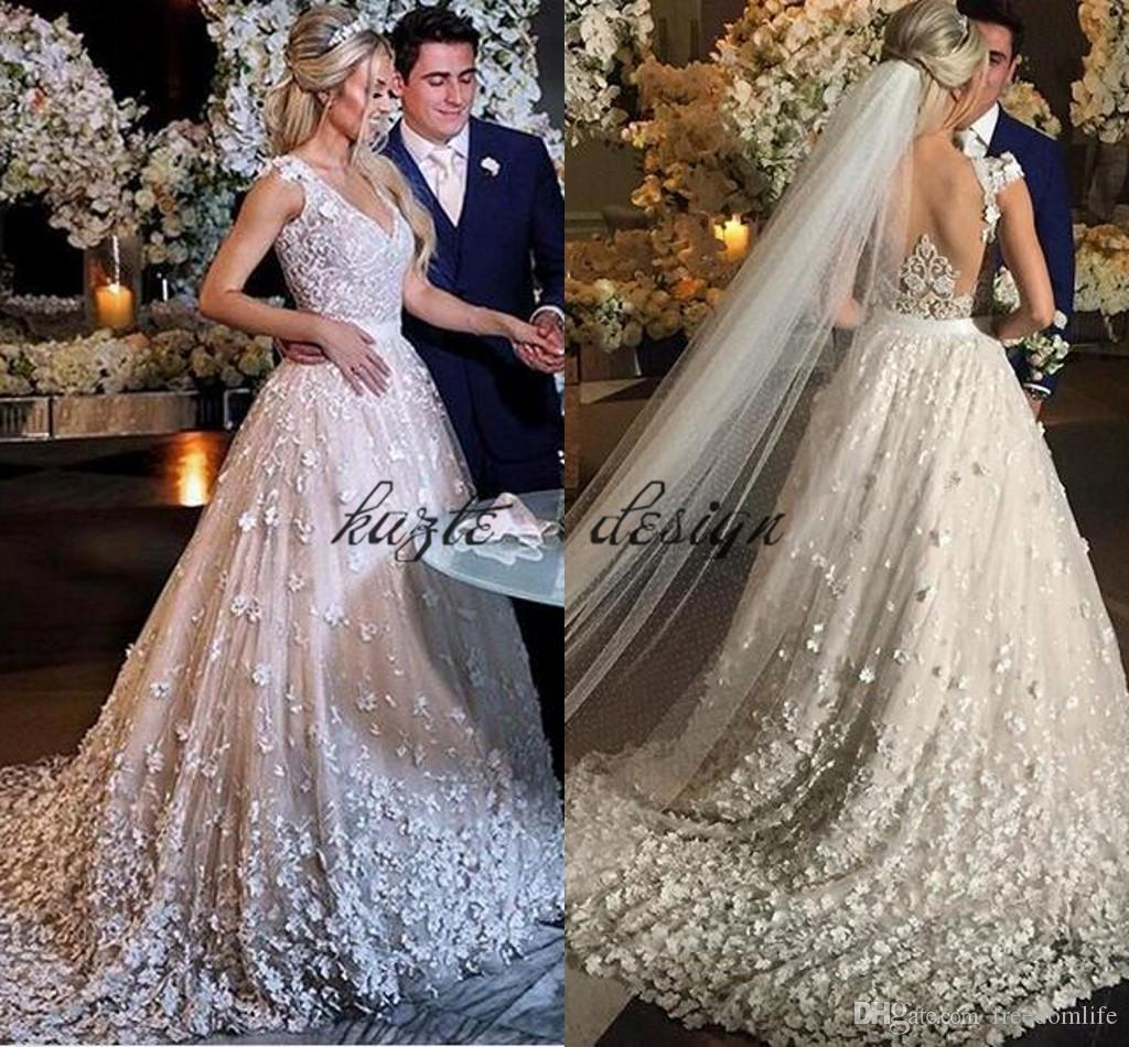 2018 Luxury Church Wedding Dresses 3D Lace Floral Fully Bridal Gowns  Reception Dress Sweep Train Cap Sleeve Plus Size Princess Wedding Dress