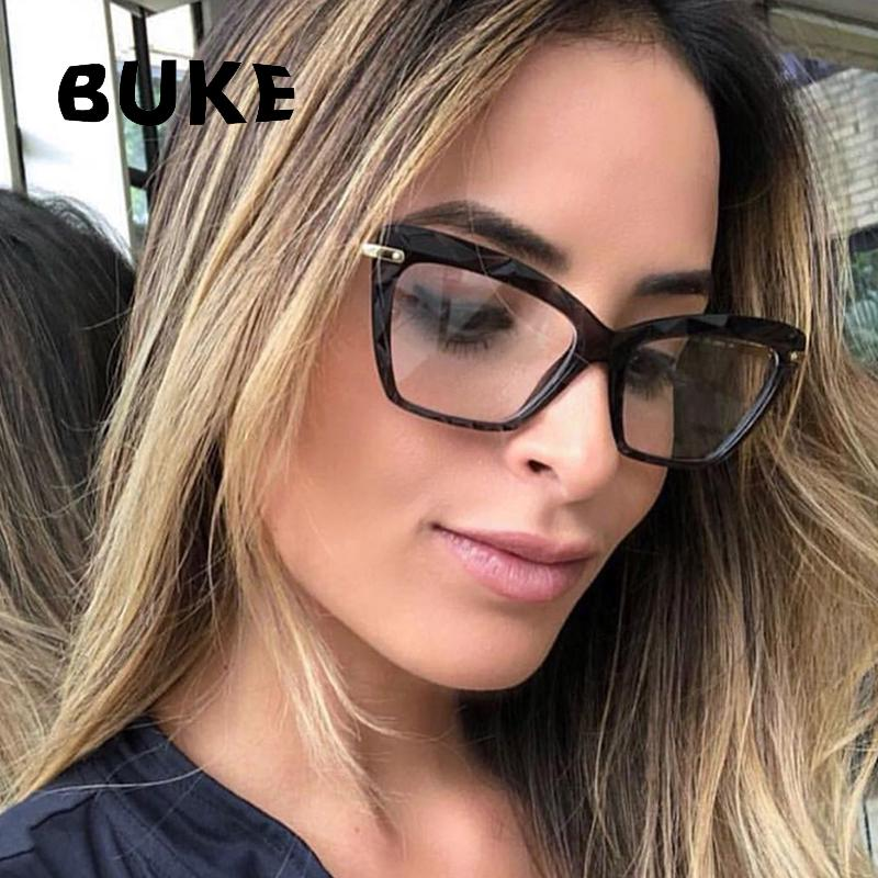 73196c76bc 2019 BUKE Fashion Square Glasses Frame Women Trending Styles Brand Design  Optical Computer Glasses Oculos De Sol Eyewear 2018 From Jianyue16