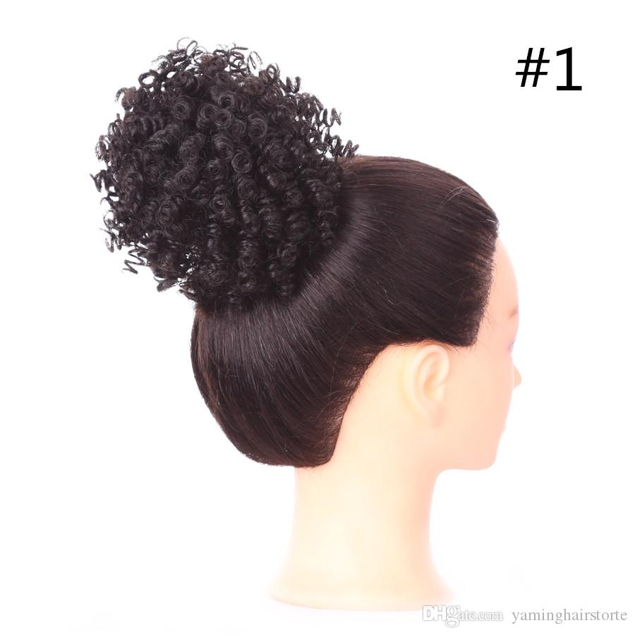 Fashion Trend 3 Inch Womens Curly Chignon With Rubber Band
