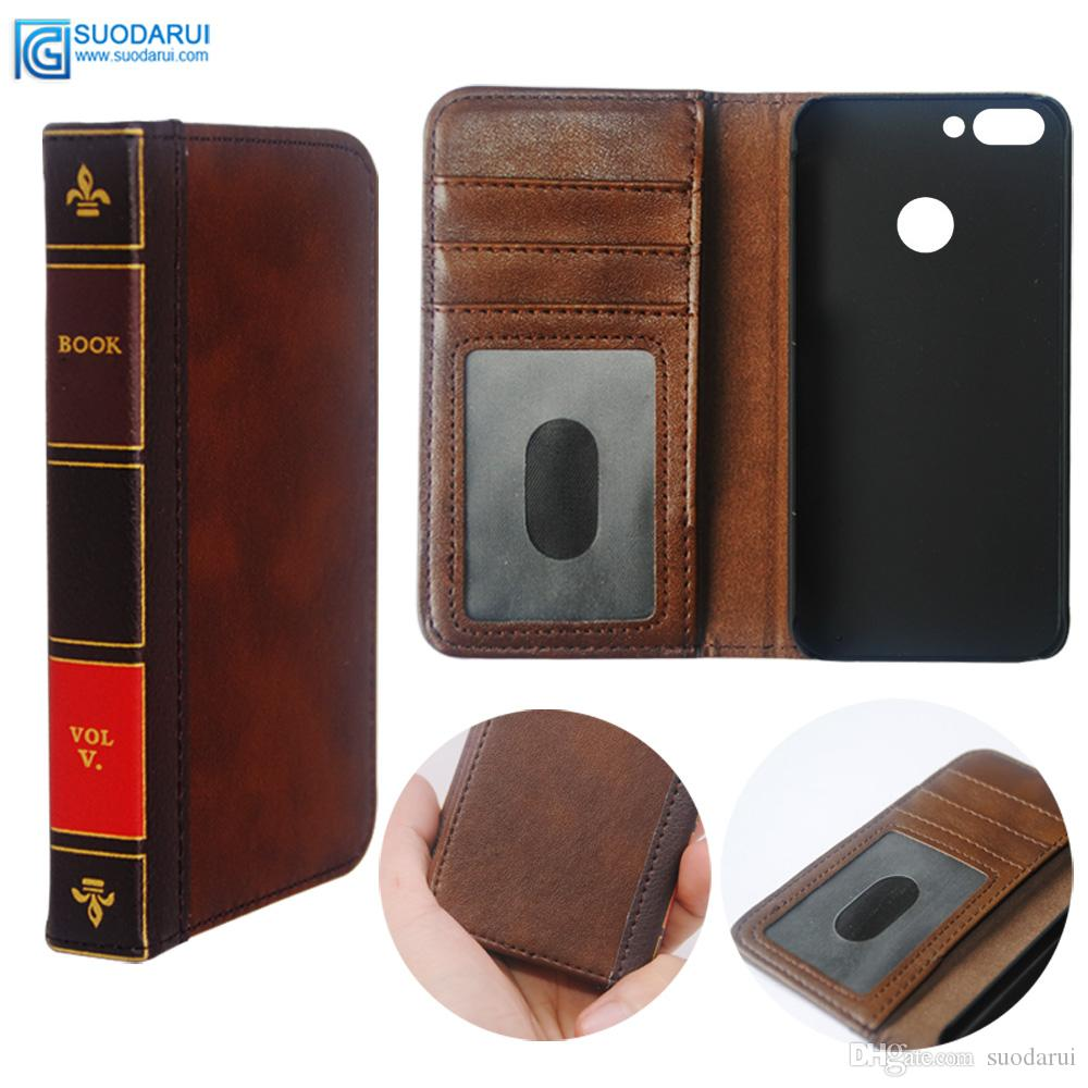 autentica di fabbrica 8b875 f4f4d Flip Leather cell Phone Case for Huawei P Smart Cover Wallet Retro Bible  Vintage Book Business Pouch