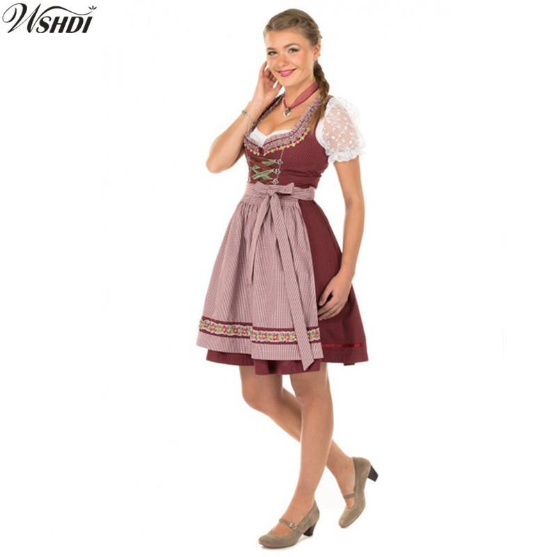 91d0d0cdf5c Traditional Women German Oktoberfest Costume Bavarian Octoberfest Beer Maid  Wench Dirndl Fancy Dress Halloween Party Outdit