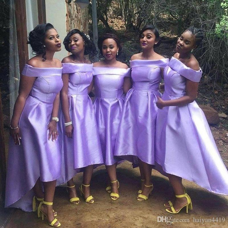 2019 Cheap Short Lilac Lavender Bridesmaid Dresses Off Shoulder High Low  Satin For Weddings Guest Dress Formal Plus Size Maid Of Honor Gowns  Bridesmaid ... 885cab318513