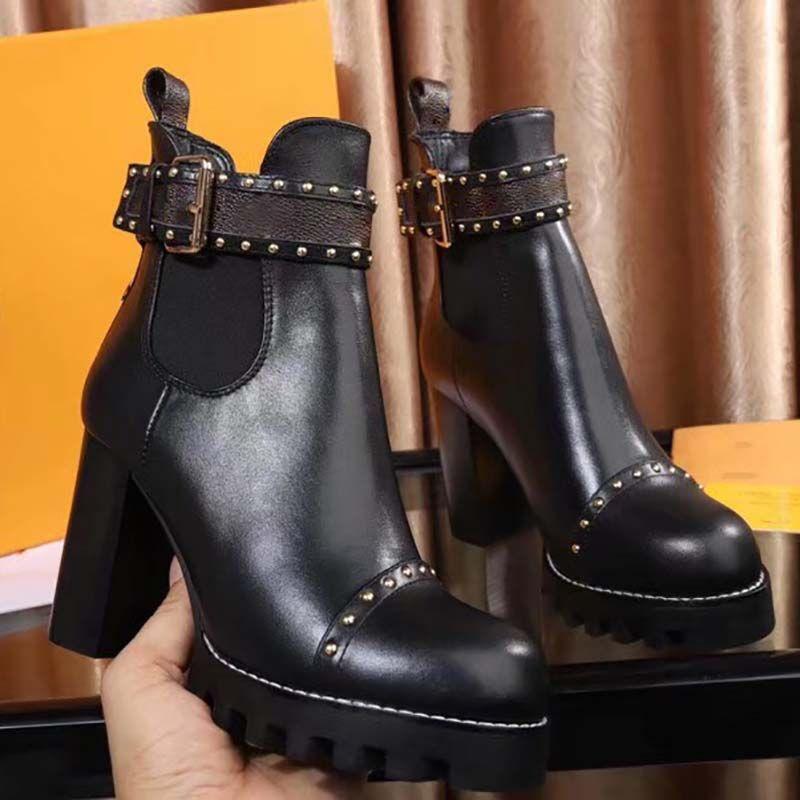 f8ac96349970 Acheter Grande Taille 35 42 2018 Nouvelle Mode Bottes Femmes Bottes Haut De  Gamme En Cuir Design Confortable Chaussures Casual Rivets Bottes À Talons  Hauts ...