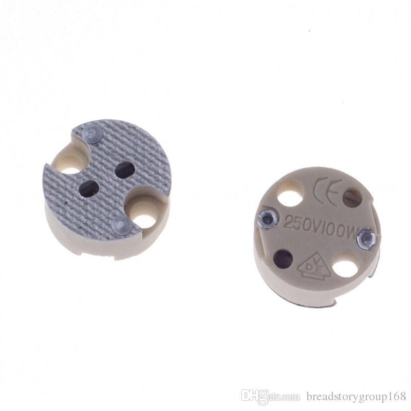 G5.3 MR16 Bulb Socket G5.3 MR16 Lamp Base Ceramic Lamp Holder without Wire DIY Straight Socket
