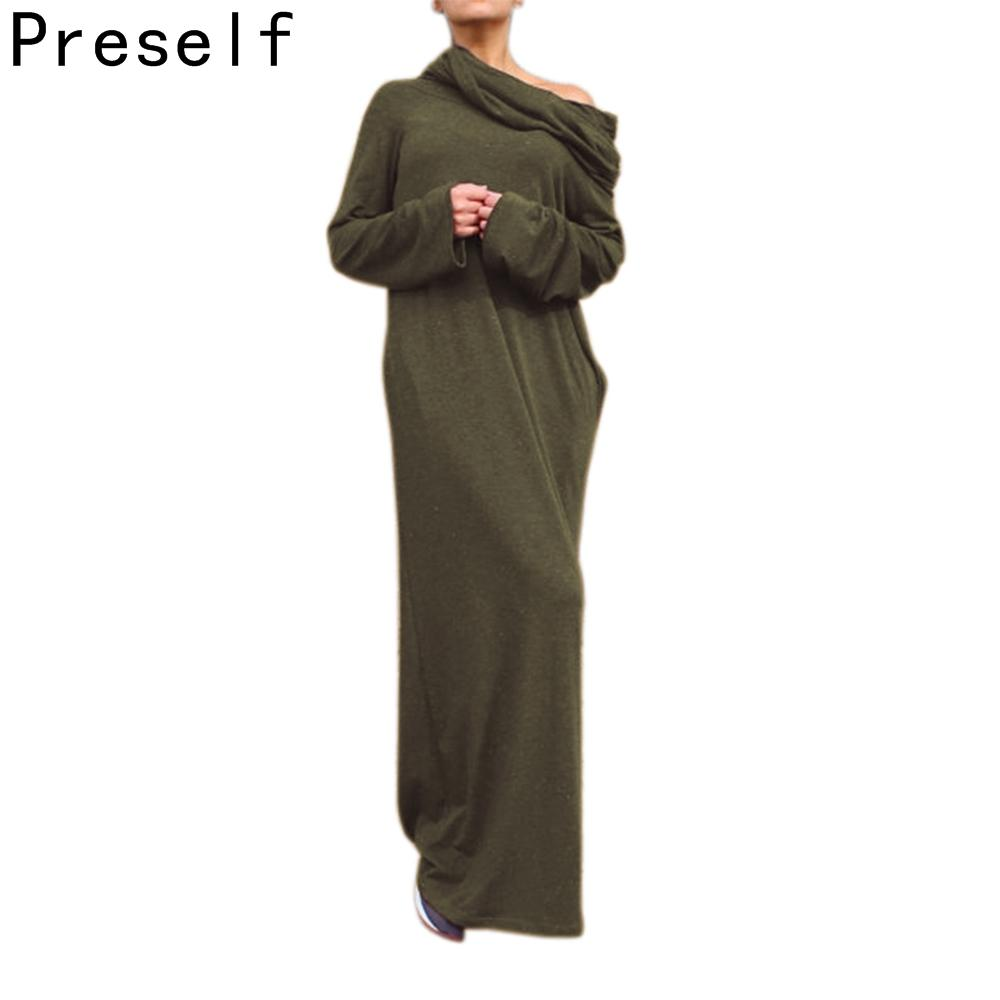 cbe71fcfbb3b Preself Loose Hooded Maxi Dresses Women's Knit Off-Shoulder Wrap Dress  Casual long Sleeves Plus Size Party 2018 Autumn Winter