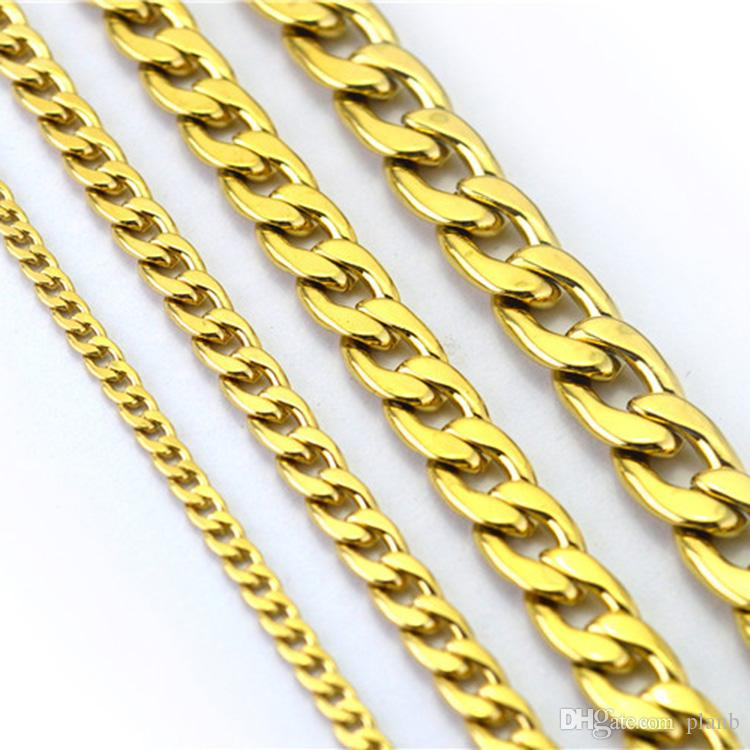 Never fade Fashion Luxury Figaro Chain Necklace 4 Sizes Men Jewelry 18K Real Yellow Gold Plated 9mm Chain Necklaces for Women Mens