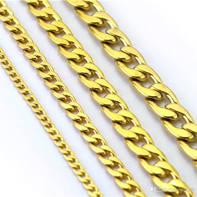 Non tramonterà mai Fashion Luxury Figaro Chain Necklace 4 Taglie Uomo Jewelry 18K Real Yellow Gold Plated 9mm Collane a catena Donna Uomo