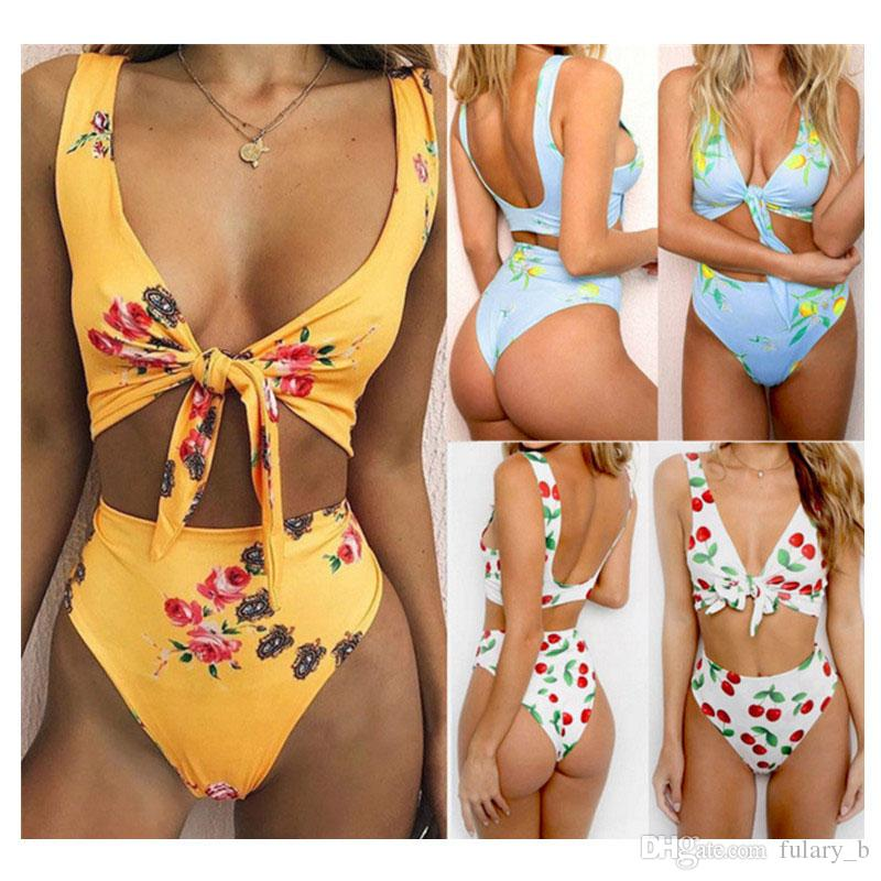 2214d3b093 Women Swimsuit Monokini Bodysuit Bathing Suits Fashion Floral Print Trikini  Bikini Set Beach Swimwear Bodysuit Beach Swimwear Bikini Set Online with ...