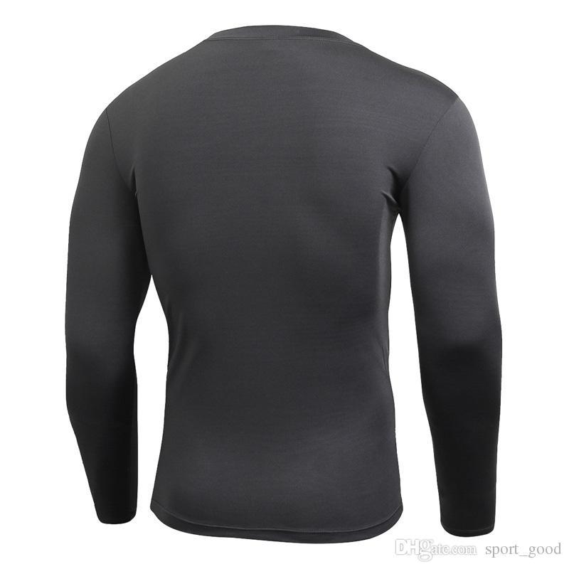 T-shirt de compressão de mangas compridas dos homens novos de secagem rápida tshirt treinamento de fitness verão clothing cor sólida bodybuild ginásio correndo ternos