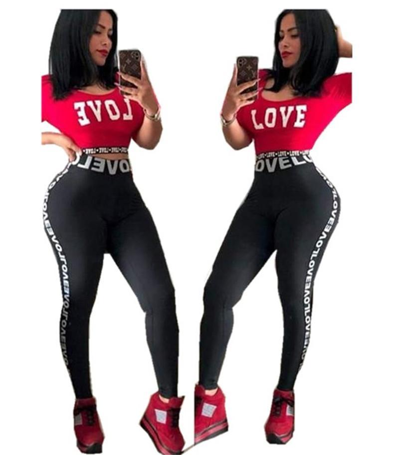 bcfd52918e822 Love Letter Women Tracksuit Jogger Outfit Short Sleeve T Shirt Crop Top + Pants  Leggings 2PCS Set Casual T-shirt Tights Sportswear Clothes
