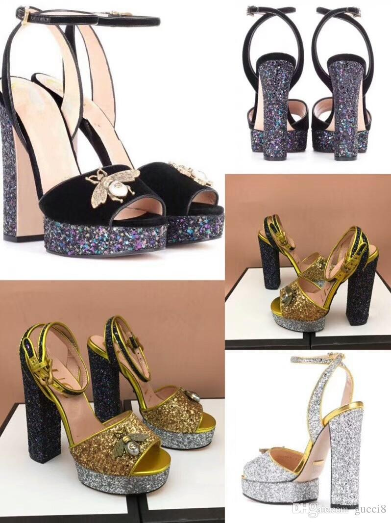 f238078bd91ee New Arrival 2019 Designer Little Bees Glitter High Platform Heels Shoes  Strap Sheepskin Ladies Sandals Leather Sandals Wedding Sandals From Gucci8