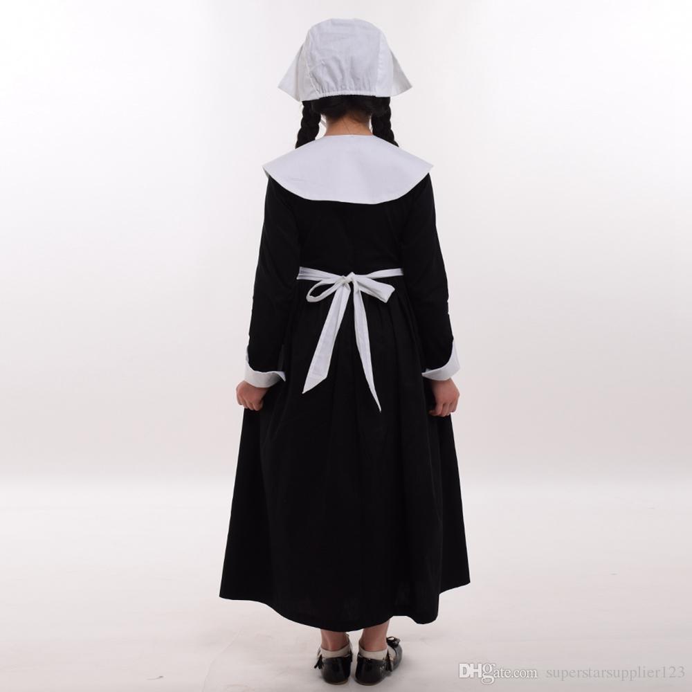 Kids Girls Puritan Costume Pilgrim Carnival Party 1920s Religious Cosplay Halloween Clothing Classical Prairie Dress Suit