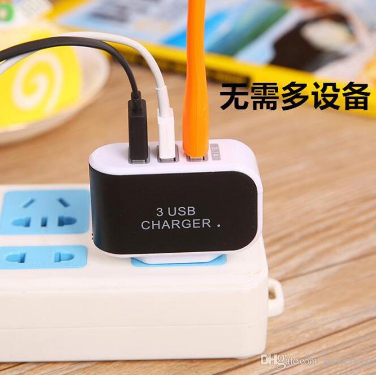 3 cargadores de pared USB 5V 3.1A Adaptador de LED VIAJE ADAPTADOR DE POTENCIA Conveniente con puertos TRIPLE USB para teléfono móvil