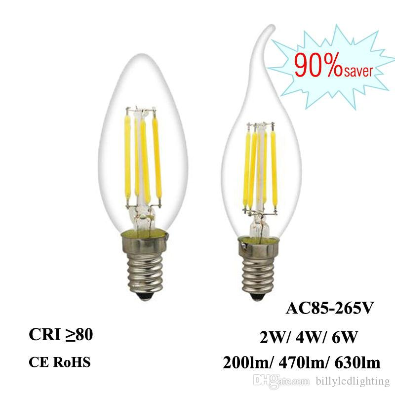 Led Filament Bulb E12 E14 2w 4w 6w Edison Candle Light 110v 220v ...