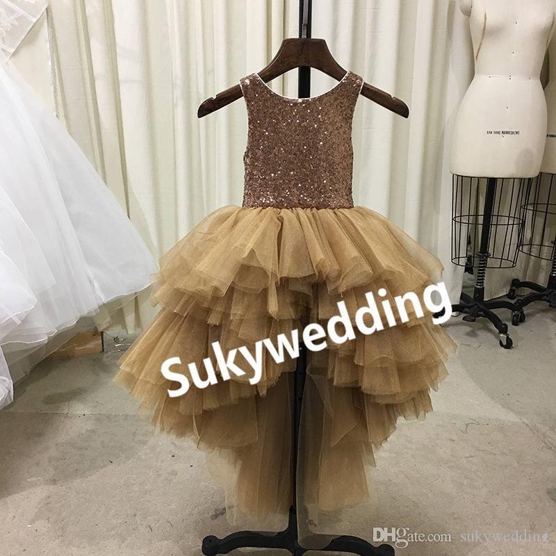 d4c1eb127 Gold Sequin Flower Girl Dress for Wedding 2018 New designer High Low Tutu  Tulle skirt Girls Pageant Dresses Jewel Kids Birthday Party Dress