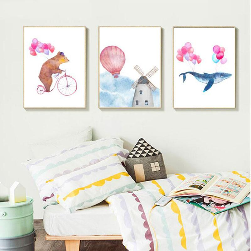 Delightful Nordic Style Kids Home Decor Pink Balloon Kids Room Posters And Prints Wall  Art Canvas Painting Canvas Art Picture New Frameless UK 2019 From Aliceer,  ...